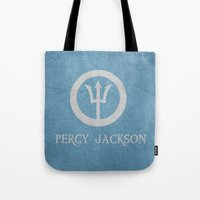 percy jackson Tote Bags featuring Percy Jackson by Dan Lebrun