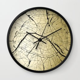 Paris France Minimal Street Map - Gold on Black Wall Clock