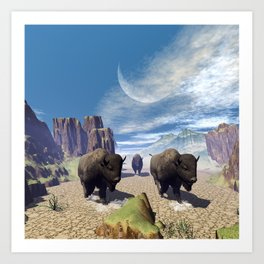 Awesome running bisons Art Print