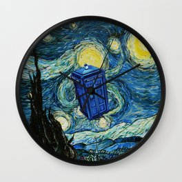 Tardis Dr. Who Starry Night Wall Clock