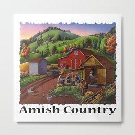 Amish Country, Folk Art Americana, Farmers Shucking Harvesting Corn Farm Landscape, Autumn Metal Print