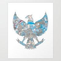 indonesia Art Prints featuring Indonesia Garuda by ginan perdana