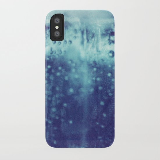 Blue and purple bubble clouds iPhone Case