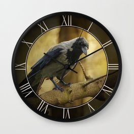 Crow on the branch Wall Clock