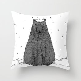 Capybara and Snow Throw Pillow