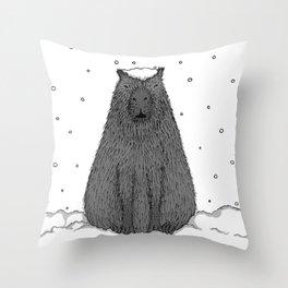 Capybara and Snow Throw Pillow
