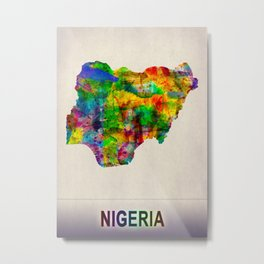 Nigeria Map in Watercolor Metal Print