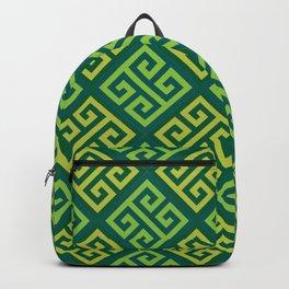 Ornate Twist Geometric Pattern - Green Backpack
