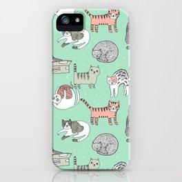 Cat pattern cute nursery cat lady kittens by andrea lauren iPhone Case