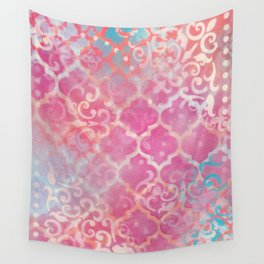 Layered Patterns - Pink, Coral, Turquoise and Cream Wall Tapestry
