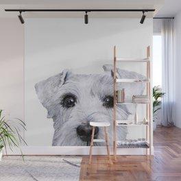 Schnauzer White Dog original painting print Wall Mural