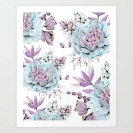Turquoise and Violet Succulents Art Print