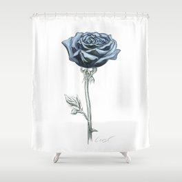 Rose 03 Botanical Flower * Blue Black Rose : Love, Honor, Faith, Beauty, Passion, Devotion & Wisdom Shower Curtain