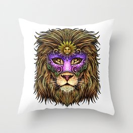 Mardi Gras | Pride Lion With Cute Mask Throw Pillow