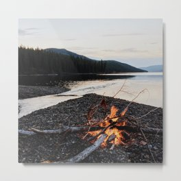 Fox Lake Campfire Metal Print