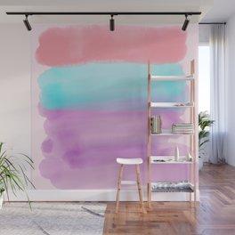 Lavender Pink Teal Artsy Watercolor Colorblock Wall Mural