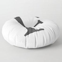 Letter F Initial Monogram Black and White Floor Pillow