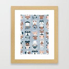 Doggie Coffee and Tea Time I // blue grey Framed Art Print