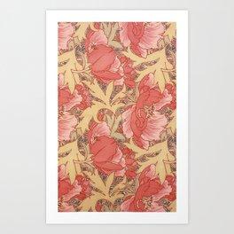 William Morris Poppies Floral Art Nouveau Pattern Art Print