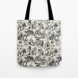 Alice in Wonderland | Toile de Jouy | Black and Beige Tote Bag