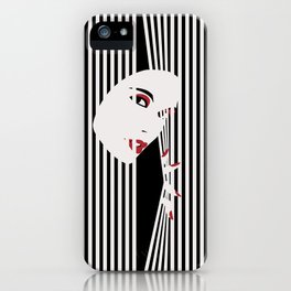 Peeking Woman (Black) iPhone Case