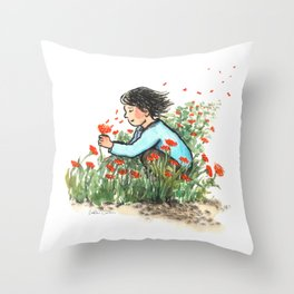 Poppy wishes Throw Pillow