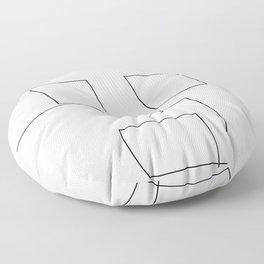 Face Line Illustration Black White Minimalism Floor Pillow