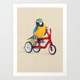 Parrot macaw on red bike Art Print
