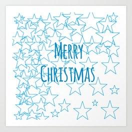 Starry Merry Christmas Art Print