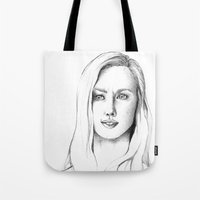karen hallion Tote Bags featuring Karen Page by Bitterness