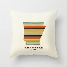 Arkansas state map modern Throw Pillow