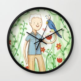 Sir David Attenborough & a Parrot Wall Clock