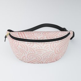 Rose quartz and white swirls doodles Fanny Pack