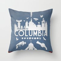 bioshock infinite Throw Pillows featuring Welcome To Columbia - Bioshock Infinite (Variant) by s2lart