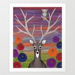 white tailed deer, owl, zinnias Art Print