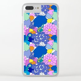 Far-Out 60's Floral in White Clear iPhone Case