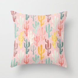 Long Multicolored Cacti Throw Pillow