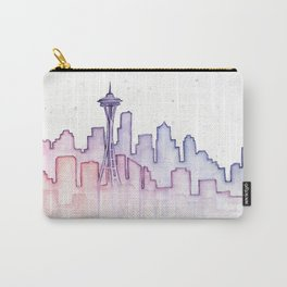 Seattle Skyline Watercolor Carry-All Pouch
