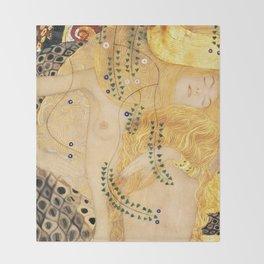 Water Serpents - Gustav Klimt Throw Blanket