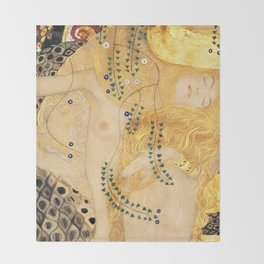 Water Serpents - Gustav Klimt Throw Blanket