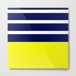 Summer Patio Perfect, Yellow, White & Navy Metal Print