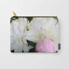 Peonies White & Pink Carry-All Pouch