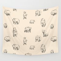 bears Wall Tapestries featuring Bears by leah reena goren