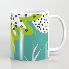 White strawberries and green leaves Coffee Mug