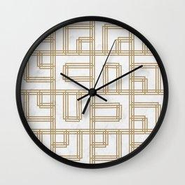 Golden Deco Lines Pattern Wall Clock