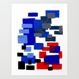 Modern Mid Century Abstract Geometric Cube Square Acrylic Painting Blue With Red Accents Art Print