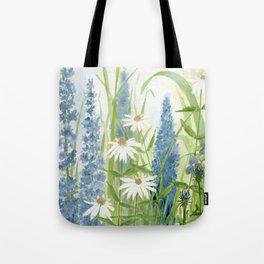 Watercolor Botanical Garden Flower Wildflower Blue Flower Garden Tote Bag