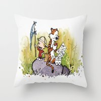 calvin and hobbes Throw Pillows featuring Calvin n hobbes by TEUFEL_STRITT666