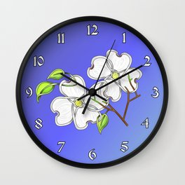White Dogwood Knot Wall Clock