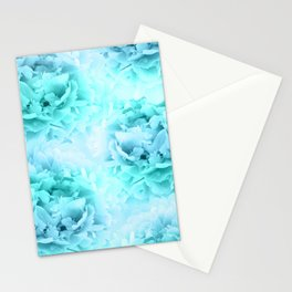 Aqua Blue Ocean Peonies Dream #1 #floral #decor #art #society6 Stationery Cards